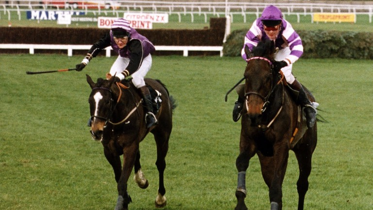 Party Politics (right) wins the 1992 Grand National