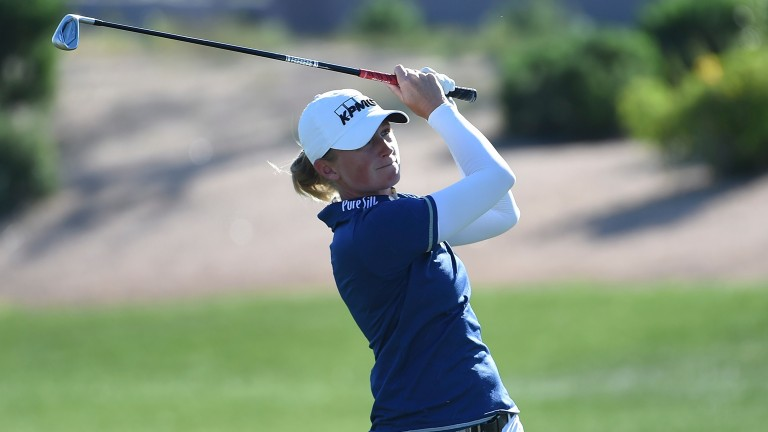 Stacy Lewis hits an approach shot at the Founders Cup earlier this month