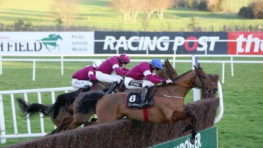 LEOPARDSTOWN WED 28 DECEMBER 2016 PICTURE: CAROLINE NORRIS OUTLANDER RIDDEN BY JACK KENNEDY JUMPING THE LAST FENCE TO WIN THE LEXUS STEEPLECHASE FROM VALSEUR LIDO RIDDEN BY BRYAN COOPER, 4TH, AND DON POLI RIDDEN BY DAVID MULLINS, 2ND, WHITE CAP.