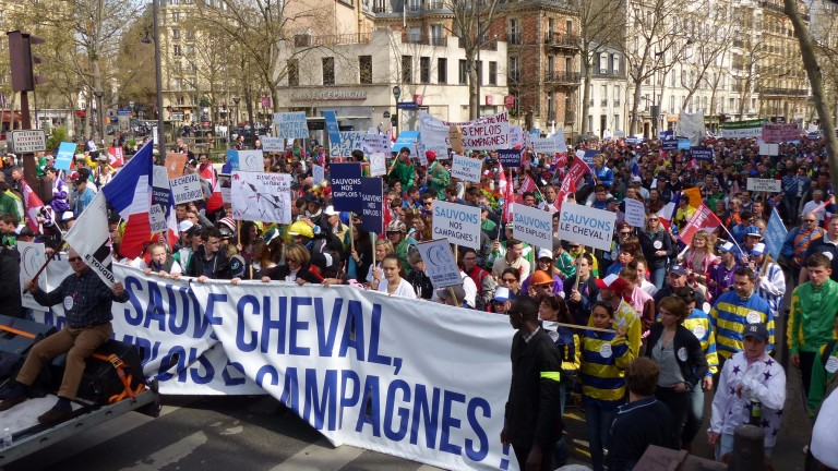 Up to 6,000 people joined the JPFC march in Paris to protest against the in play betting pilot being staged by France's lottery operator
