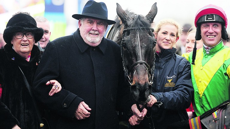 Robbie Power with Ann and Alan Potts and groom Ashley Hussey after Sizing John's Cheltenham Gold Cup victory