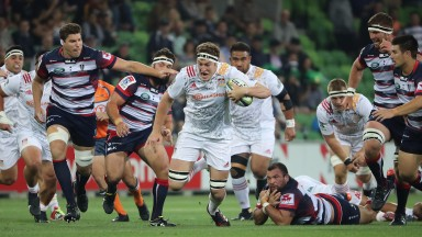 Brodie Retallick of the Chiefs runs with the ball