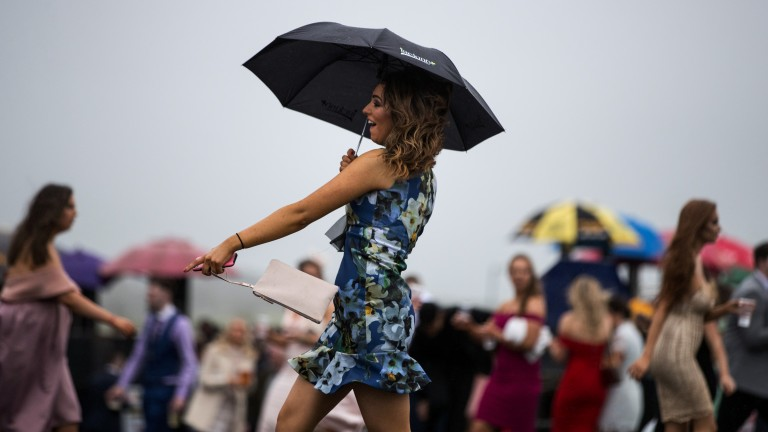 Avoiding the rain: one racegoer makes use of an umbrella as the weather takes a turn for the worse