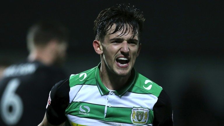 Yeovil's Liam Shephard celebrates after scoring against Barnet