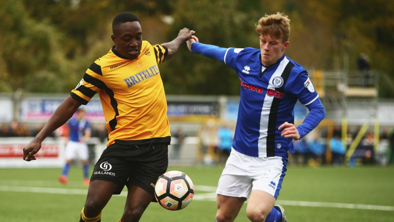 Maidstone's Jamar Loza (left) bagged a hat-trick against Woking