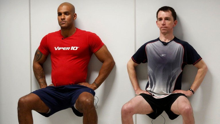 Tom Varndell and Leighton Aspell undergo one of the tests