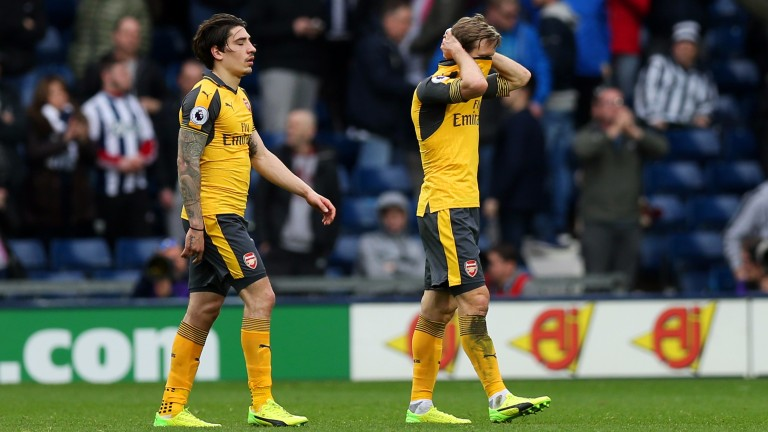 Arsenal were dejected after losing at West Brom last time out
