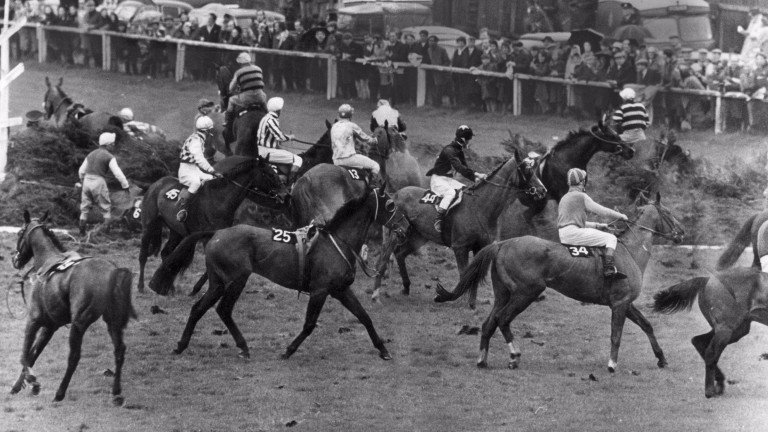 Chaos reigned in the 1967 National after Popham Down ran across the field