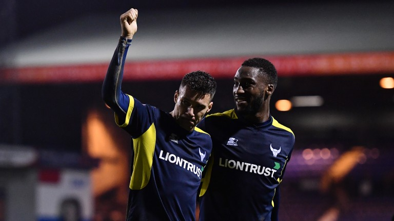 Marvin Johnson (left) celebrates reaching Wembley with Cheyenne Dunkley