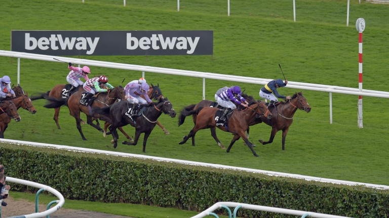 Bravery (far side) denies Oh This Is Us (purple) to the delight of bookmakers