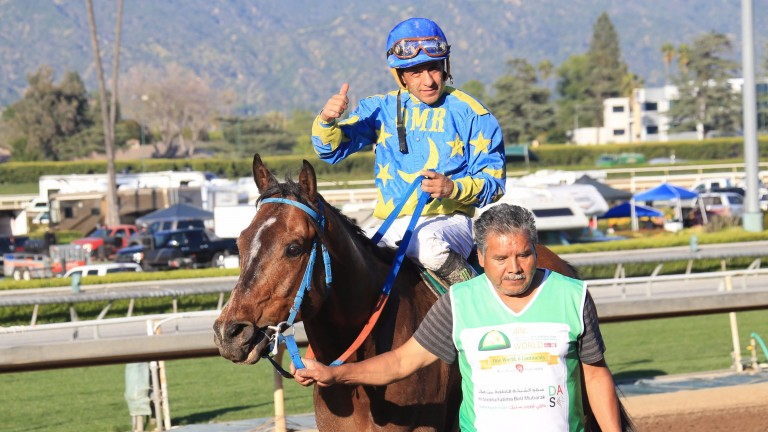 Victor Espinoza and Paddys Day return to the winner's enclosure after their Grade 1 victory