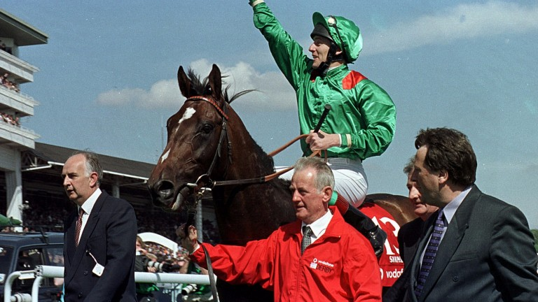 Sinndar: Jack O'Shea and Johnny Murtagh together after Sinndar won the Epsom Derby in 2000