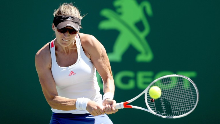 Mirjana Lucic-Baroni plays a backhand in Miami last week