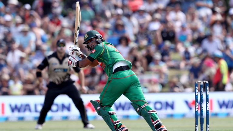 Sabbir Rahman clips off his legs for Bangladesh in a T20 against New Zealand