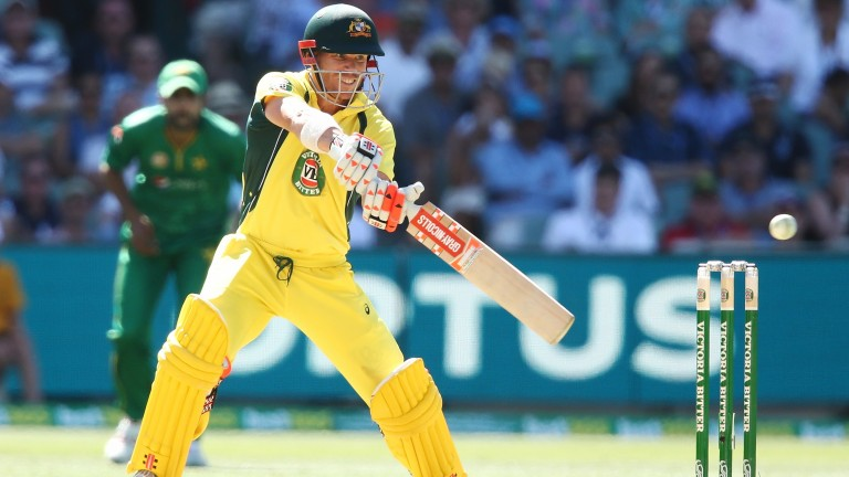 David Warner cuts on the way to an ODI century for Australia against Pakistan