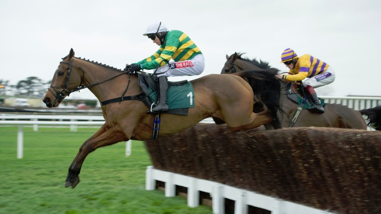 The winner More Of That (Barry Geraghty) leads Sametegal in the 2m 4f novices chaseCheltenham 12.12.15 Pic: Edward Whitaker