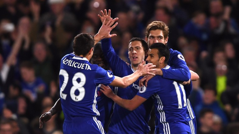 Chelsea celebrate Eden Hazard's goal against Manchester City
