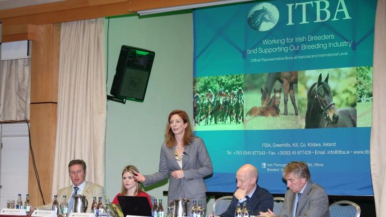 Lynn Hillyer speaks at an Irish Thoroughbred Breeders' Association seminar in February