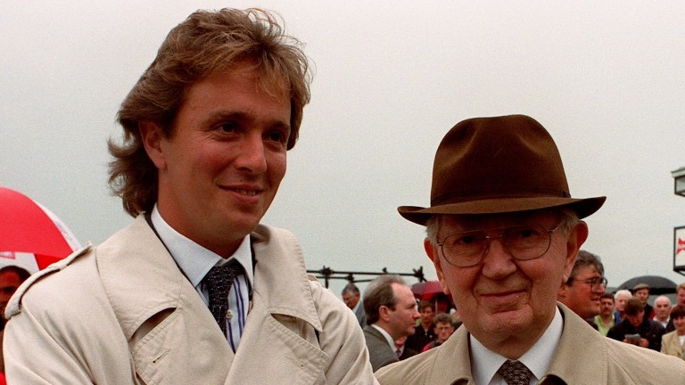 Vincent O'Brien with his son Charles on Irish Derby day in 1998