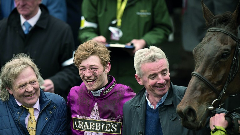 Mouse Morris with David Mullins (centre) and owner Michael O'Leary (right) after last year's win