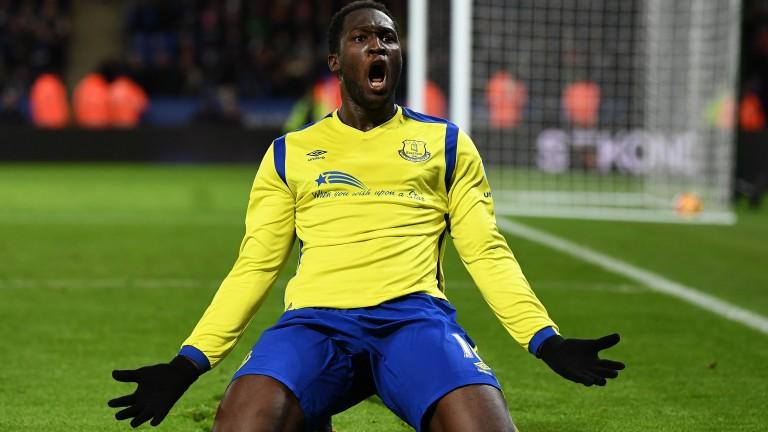 Everton's Romelu Lukaku celebrates after scoring against Leicester City