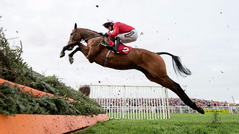 Blaklion (Ryan Hatch) jumps in the Mildmay novices chaseAintree 8.4.16 Pic: Edward Whitaker