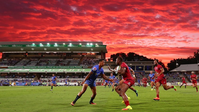 A beautiful Perth sunset was the backdrop for the Western Force's home win against the Reds this season