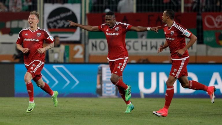 Sonny Kittel (left) celebrates with Ingolstadt teammates