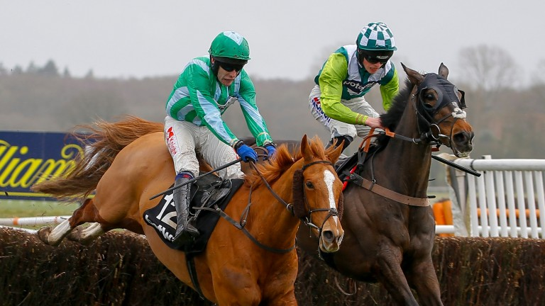 Harry Cobden and Just A Par (right) in winning action at Newbury last month