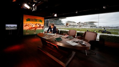 LIVERPOOL, ENGLAND - APRIL 06: ITV Racing presenter Oli Bell prepares for the 'Opening Show' on the first morning of the three day Grand National Meeting at Aintree Racecourse on April 6, 2017 in Liverpool, England. (Photo by Alan Crowhurst/Getty Images)