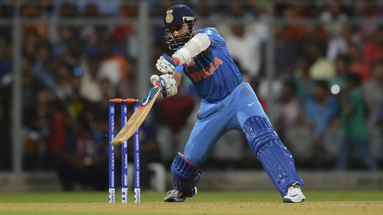 Pune's Ajinkya Rahane in action for India