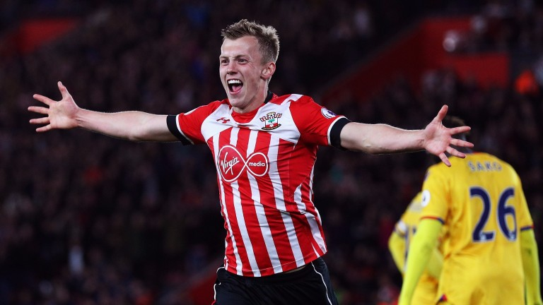 James Ward-Prowse celebrates his late goal against Crystal Palace