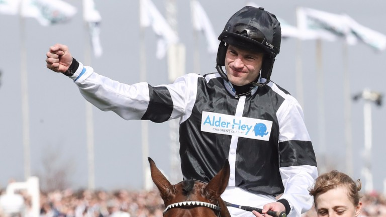 Jeremiah McGrath has plenty to celebrate with Rather Be's victory after the previous day's narrow Red Rum Chase defeat