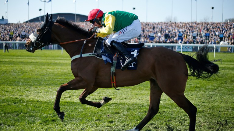 LIVERPOOL, ENGLAND - APRIL 07:  Robbie Power riding Fox Norton clear the last to win The JLT Melling Steeple Chase at Aintree Racecourse on April 7, 2017 in Liverpool, England. (Photo by Alan Crowhurst/Getty Images)