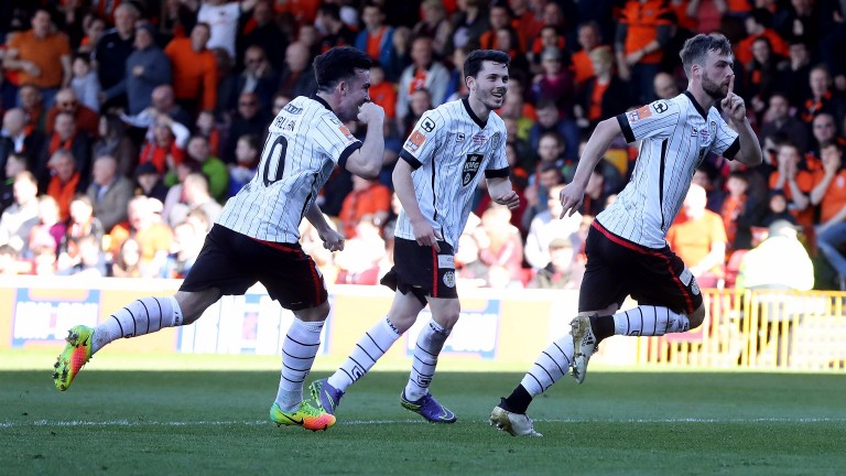 Rory Loy of St Mirren celebrates after scoring during the Irn-Bru Cup Final against Dundee United