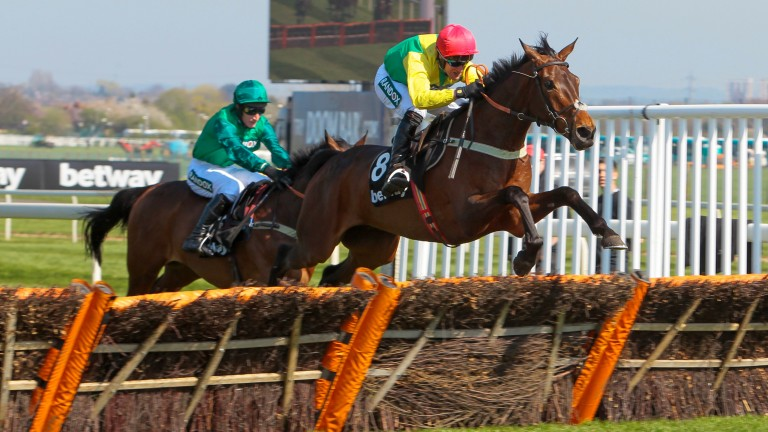 Finian's Oscar leading over the last in the Mersey Novices' Hurdles under Robbie Power