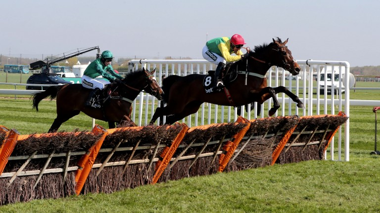 Fantastic Finian's: Finian's Oscar and Robbie Power clear the last from Messire Des Obeaux to run out an impressive winner of the Mersey Novices' Hurdle