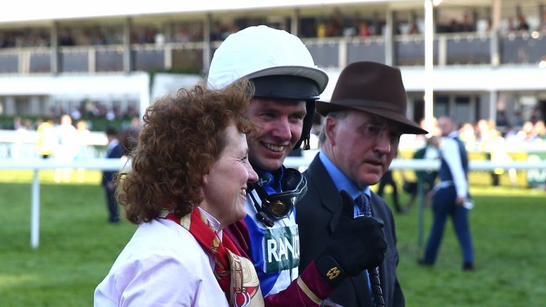 Lucinda Russell and Derek Fox after winning the Grand National with One For Arthur