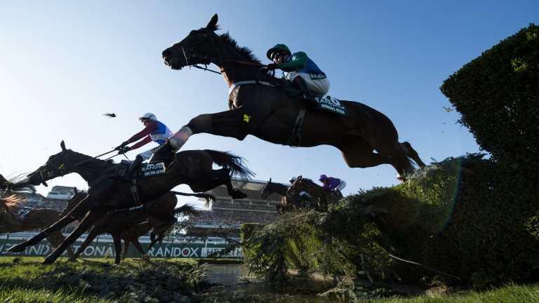 Creeping into it: One For Arthur and Derek Fox take the water jump with plenty of horses still in front of them