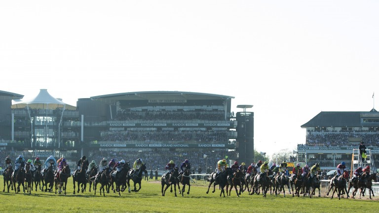 They're off: the 40 runners are under way in the Grand National