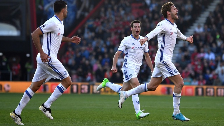Marcos Alonso of Chelsea celebrates scoring his sides third goal against Bournemouth