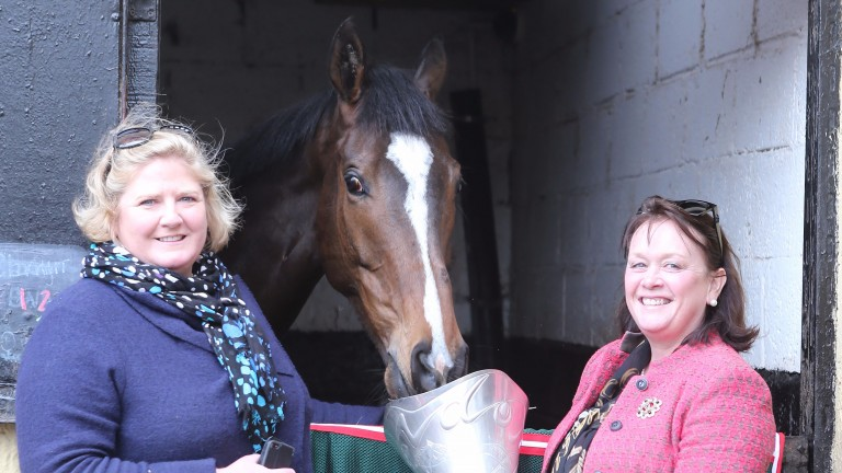 Belinda McClung (left) and Deborah Thomson celebrate with their Aintree hero
