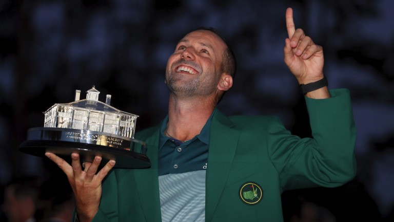 Sergio Garcia celebrates during the Green Jacket ceremony