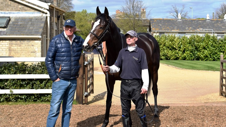 Trainer Martyn Meade with Eminent and lad Glen Osborne at Sefton Lodge on Tuesday