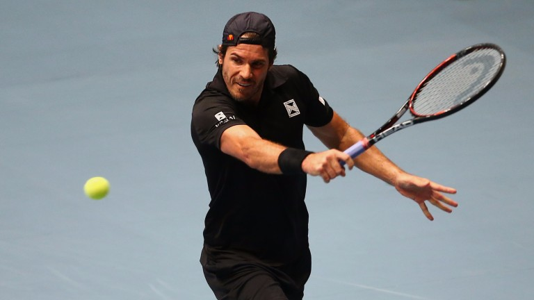 Tommy Haas plays a backhand
