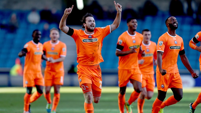 Michael Cheek (centre) scored Braintree's goal in their 2-1 defeat by Dover