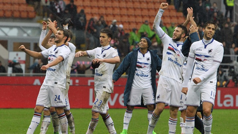 Sampdoria celebrate their win over Milan at San Siro