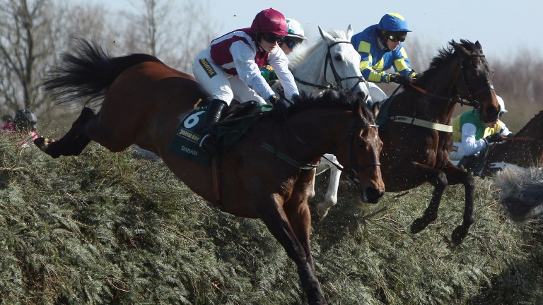Seabass and Katie Walsh clear Valentines during the 2013 Grand National