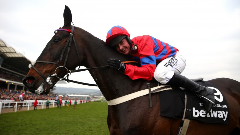 Nico de Boinville celebrates winning the Champion Chase on Sprinter Sacre