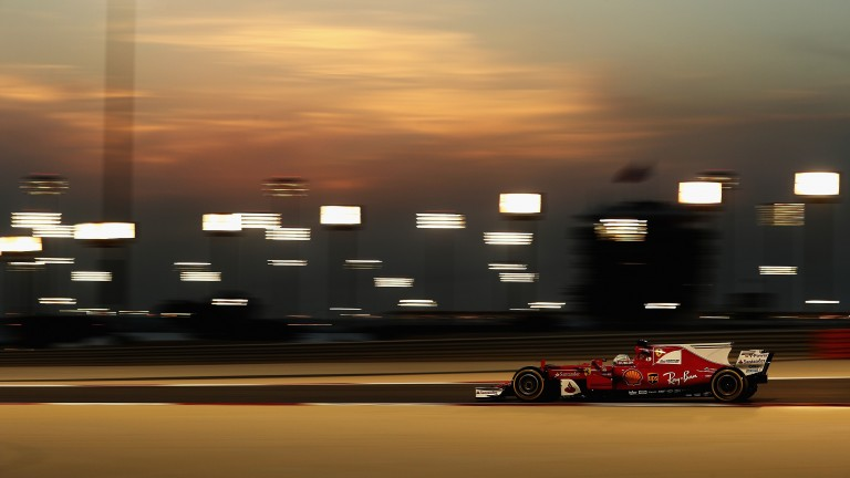 Sebastian Vettel under the Sakhir floodlights during Bahrain Grand Prix practice